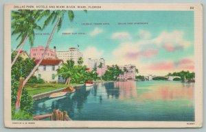 Miami Florida~Dallas Park Hotel And Lake View~Vintage Postcard