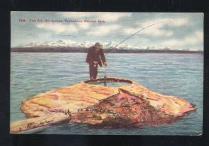YELLOWSTONE NATIONAL PARK FISHING POT HOT SPRINGS RPO CANCEL OLD POSTCARD