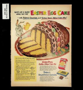 1953 Easter Egg Cake Swans Down Golden Yellow Cake Vintage Print Ad 015750
