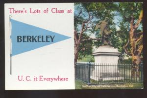 UNIVERSITY OF CALIFORNIA BERKELEY CALIF. BLUE PENNANT VINTAGE POSTCARD