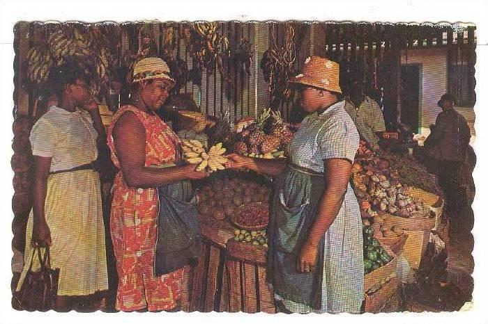 Buying fresh tropical fruits and vegetables at the native market, Nassau in t...