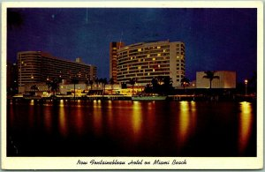 Miami Beach, Florida Postcard New FONTAINEBLEAU HOTEL Night View / Water 1961