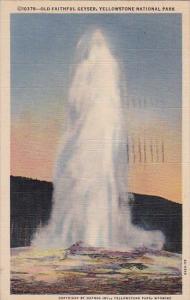 Wyoming Yellowstone National Park Old Faithful Geyser 1950