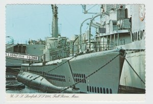USS Lionfish SS 298 Attack Submarine at Fall River Massachusetts Postcard