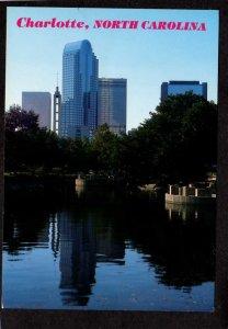 NC Downtown View Charlotte North Carolina Postcard Skyline Bldgs