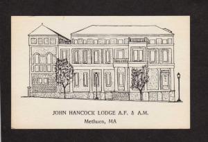 MA John Hancock Lodge Masonic Masons Methuen Mass Massachusetts Postcard OES