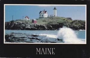 Surf Breaking at Nubble Light House - York Beach, Maine - pm 1984