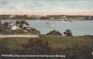 Maine Portland Looking Across The Channel From Great Diamond To Peak Island 1907