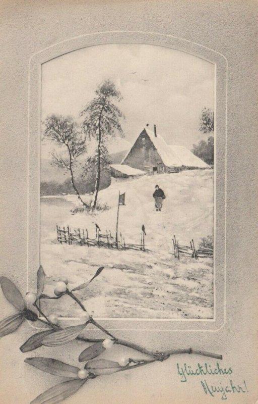 V.K.VIENNE : PU-1912 , Winter scene , Glucklichs Newjahr!