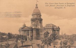 Menard Monument and State Capitol - Springfield IL, Illinois - pm 1908 - DB