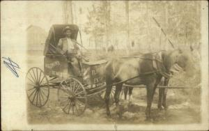 Watkins Remedies Horse Advertising Wagon c1910 Real Photo Postcard