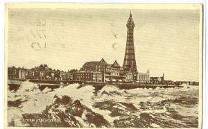 United Kingdom, Storm at Blackpool, 1946 used Postcard