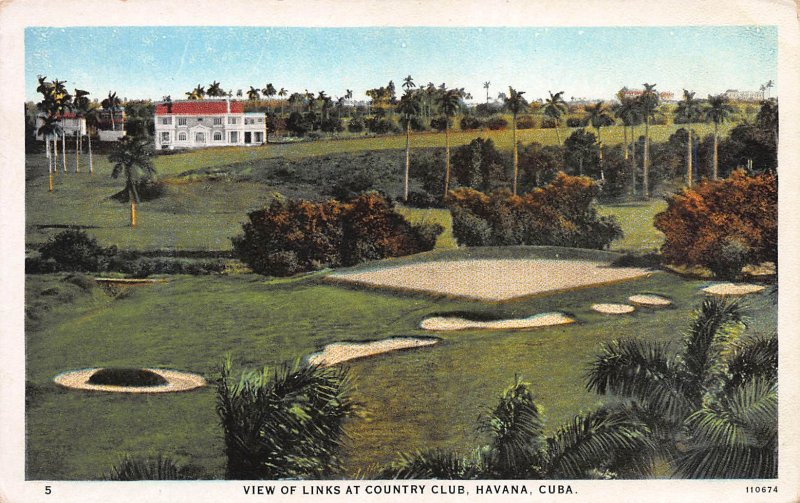 View of Links at Country Club, Havana, Cuba, Early Postcard, Unused