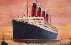 Cunard Ocean Liner, R.M.S. Aquitania, Early English Postcard, Unused