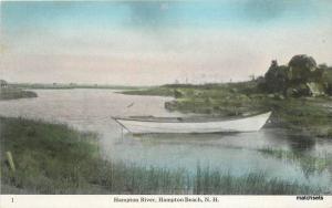 c1910 River rowboat HAMPTON BEACH NEW HAMPSHIRE Swallow postcard 4869