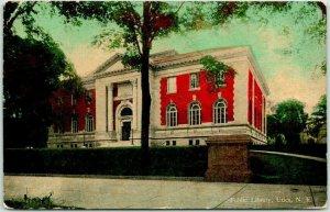 UTICA, New York Postcard Public Library Building / Street View w/ 1911 Cancel
