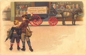 Paris France Lombart Chocolate Horse & Delivery Wagon Postcard