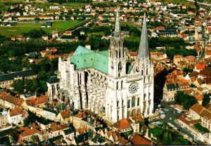 France Chartres Vue aerienne de la Cathedrale