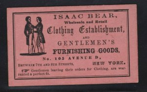 Circa 1850's Business Card Isaac Bear Clothing NYC 105 Ave D East Side Btwn 7&8