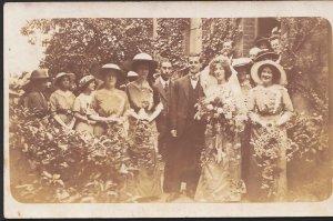 Ancestors Postcard - Unknown Location - Wedding Party, Bride, Groom and Bride...