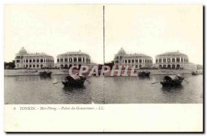 Views stereoscopic Tonkin Old Postcard Haiphong Vietnam Governor's Palace
