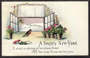 Happy New Year Bird Flowers Postcard 4159