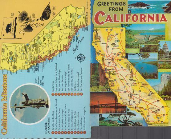 Calafornia Missions Map Bear Flag Golden Poppy Valley Quail USA 2x Postcard