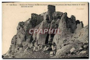 Old Postcard Les Baux Ruins of the feudal Chateau
