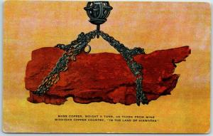 1940s Michigan Copper Country Postcard Mass Copper Weighing 8 Tons Linen