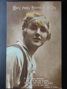 HAPPY MANY RETURNS OF THE DAY, Constance A. Dubois, Old Postcard