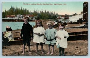 Postcard Canada BC Vancouver English Bay Children On Beach c1910 View Q11