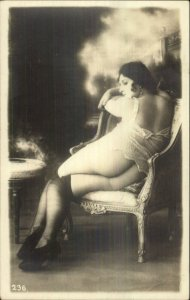 Unidentified Nude Woman Stockings Sitting in Chair c1915 Real Photo Postcard