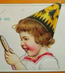 Vintage Halloween Postcard Cute Girl Embossed Stecher Independence Kansas 1916