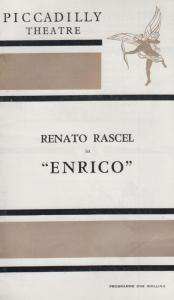 Renato Rascel in Enrico Musical London Piccadilly Theatre  Programme