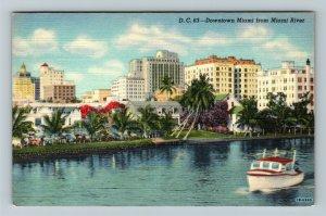Miami FL-Florida, Boat Cruising on Miami River, Downtown Hotels, Linen Postcard