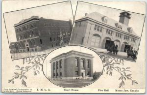Moose Jaw, Sask. Canada Postcard YMCA, Court House & Fire Station Views c1910s