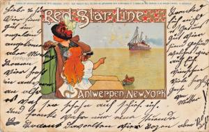 RED STAR LINE~ANTWERPEN-NEW YORK-ARTIST H CASSIERS No 1~POSTCARD 1907 PMK