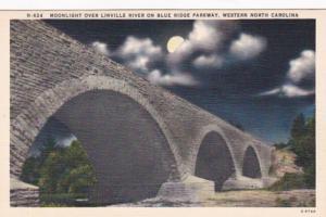 North Carolina Moonlight Over LInville River On Blue Ridge Parkway