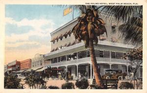 West Palm Beach Florida Palms Hotel Street View Antique Postcard K63794