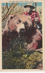 Alaska Kodiak Island Hunter With Large Kodiak Bear sk6580
