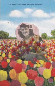 Van Bragt Tulip Farm - Flowers - Holland MI, Michigan - pm 1949 - Linen