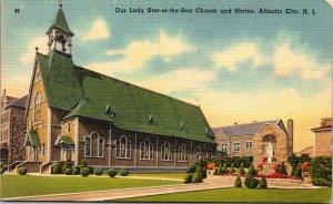Atlantic City , NJ  Star of the Sea Catholic Church Linen  VINTAGE POSTCARD