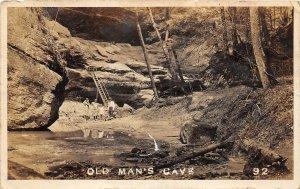 G45/ Logan Hocking Hills State Park Ohio RPPC Postcard c1920s Old Mans Cave
