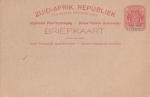 Zuid Afrik Republiek Antique South Africa One Penny Postcard