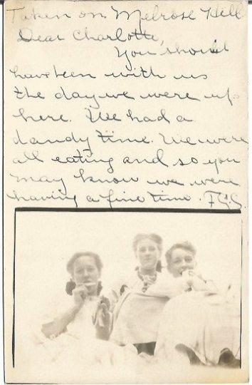 Vintage Real Photograph Postcard of Kids eating Picnic on Melrose Hill Vintage