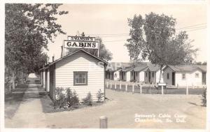 South Dakota SD Postcard Real Photo RPPC c1930s CHAMBERLAIN Swanson's Cabin Camp