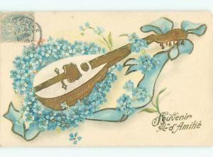 foreign 1905 Postcard ANTIQUE GUITAR WITH FORGET-ME-NOT FLOWERS AC3697