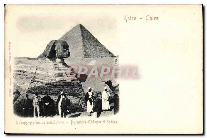 CPA Egypt Egypte Caire Pyramide Cheopse et Sphinx