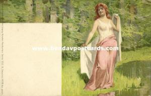 Beautiful Nude Girl on the Beach, Grimme & Hempel Art Series 503 No. 38 (1899)