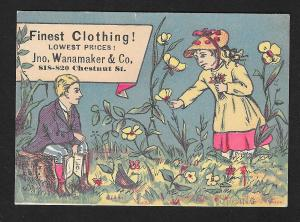 VICTORIAN TRADE CARD Jno Wanamaker & Co Finest Clothing